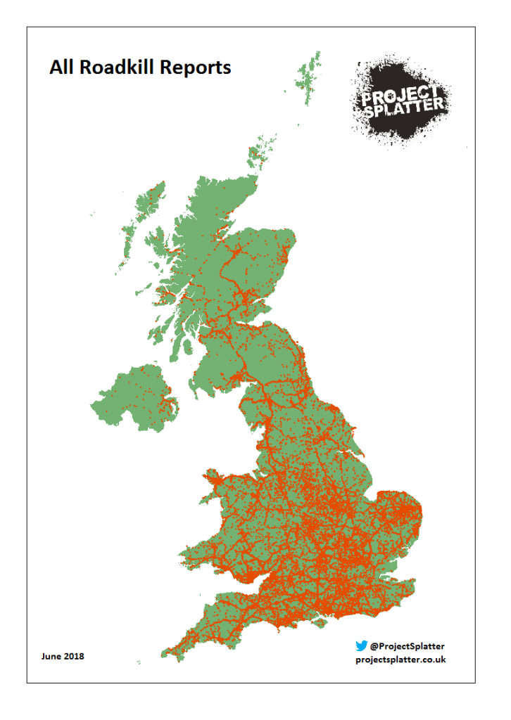 Map of all wildlife roadkill on UK roads reported to Project Splatter as of June 2018.